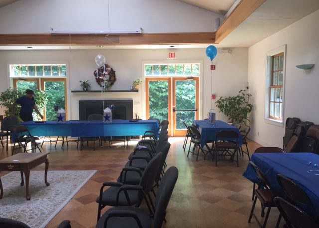 Multipurpose room set up for party